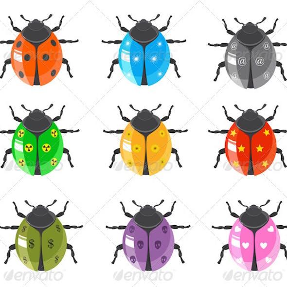 Ladybug Insect Glossy Icon Set