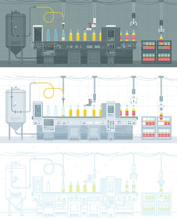 Beer on Conveyor Belt - Industries Business