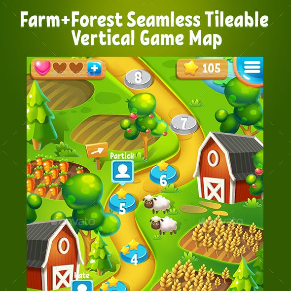 Farm and Forest Tileable Seamless Vertical Game Map
