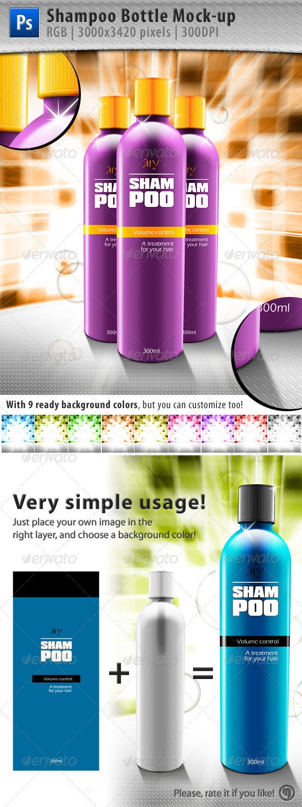 Shampoo Bottle Mock-up - Beauty Packaging