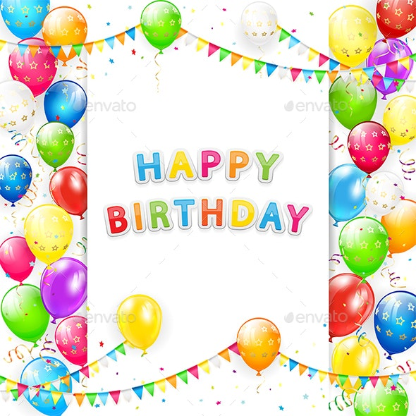 Birthday Card with Balloons and Pennants on white Background - Birthdays Seasons/Holidays