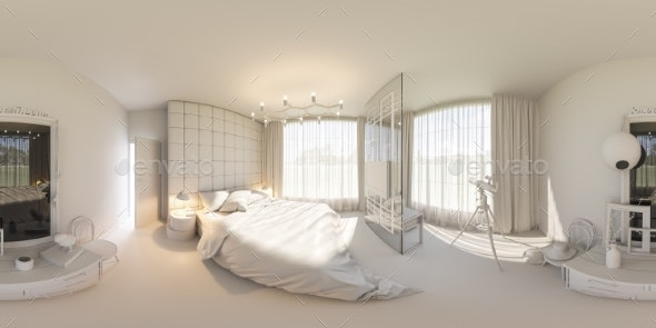 3d Render 360 Seamless Panorama of Bedroom - Architecture 3D Renders