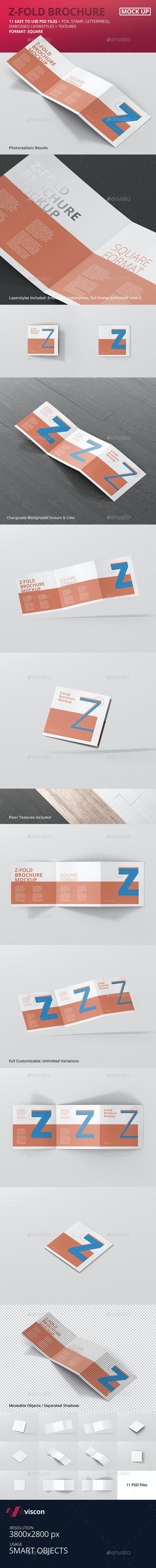 Square Z-Fold Brochure Mockup - Brochures Print