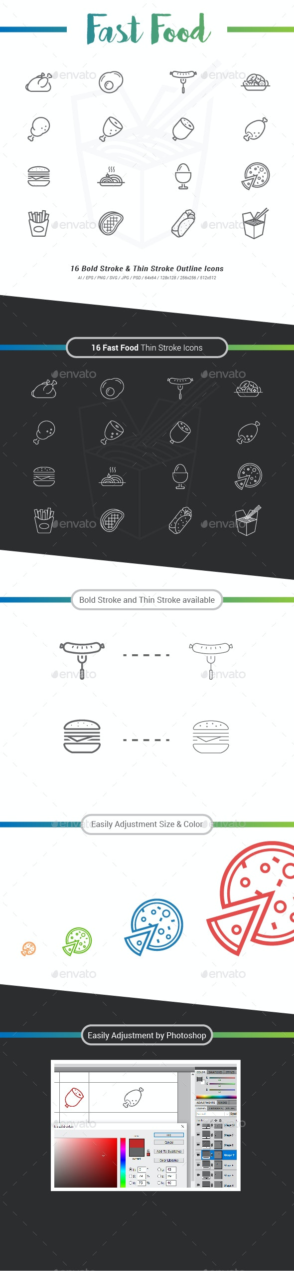16 Fast Food Outline Stroke Icons - Food Objects