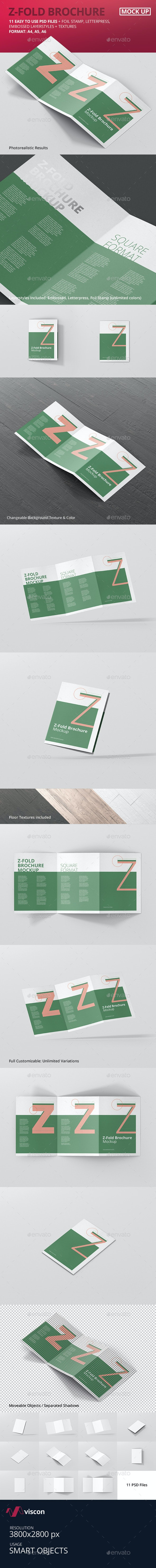 Z-Fold Brochure Mockup - Din A4 A5 A6 - Brochures Print