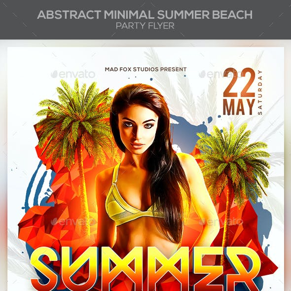 Abstract Minimal Summer Beach Party Flyer