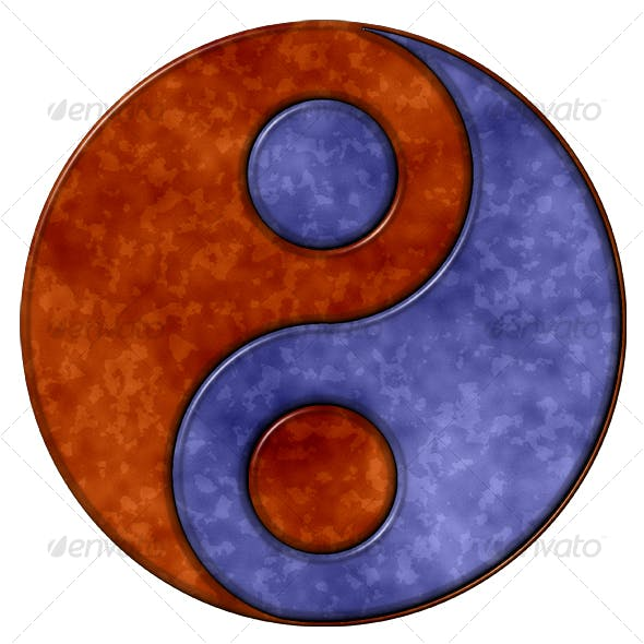 Coloured Rust Ying Yang