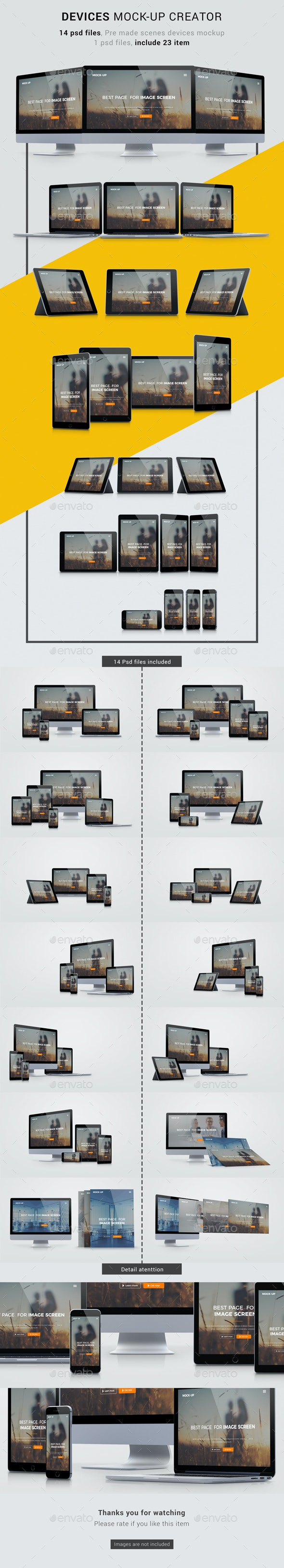 Multi Devices Responsive Screen Mockups - Product Mock-Ups Graphics