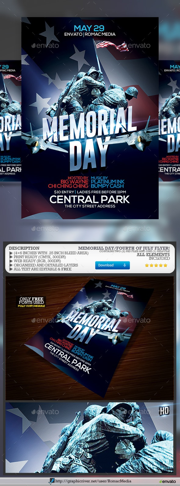 Memorial Day Party Flyer - Clubs & Parties Events