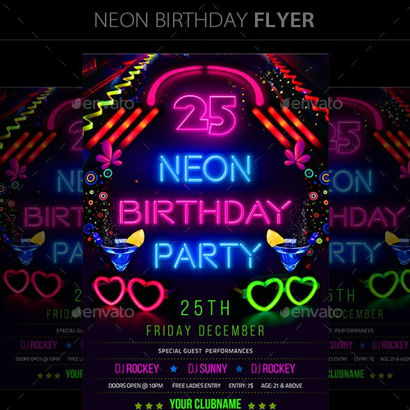 Neon Birthday Party Flyer