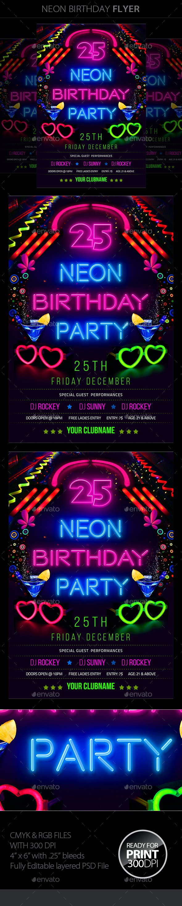 Neon Birthday Party Flyer - Clubs & Parties Events