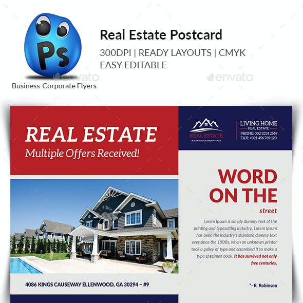 Real Estate Postcard Print Templates