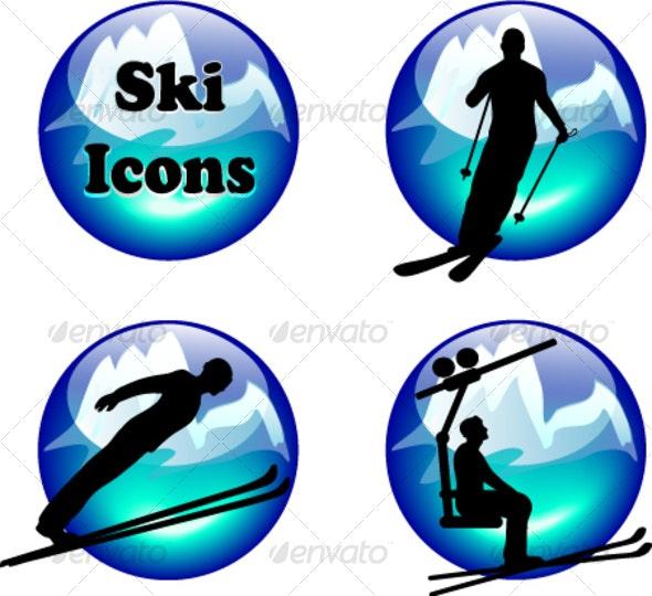 ski button set - Seasons/Holidays Conceptual