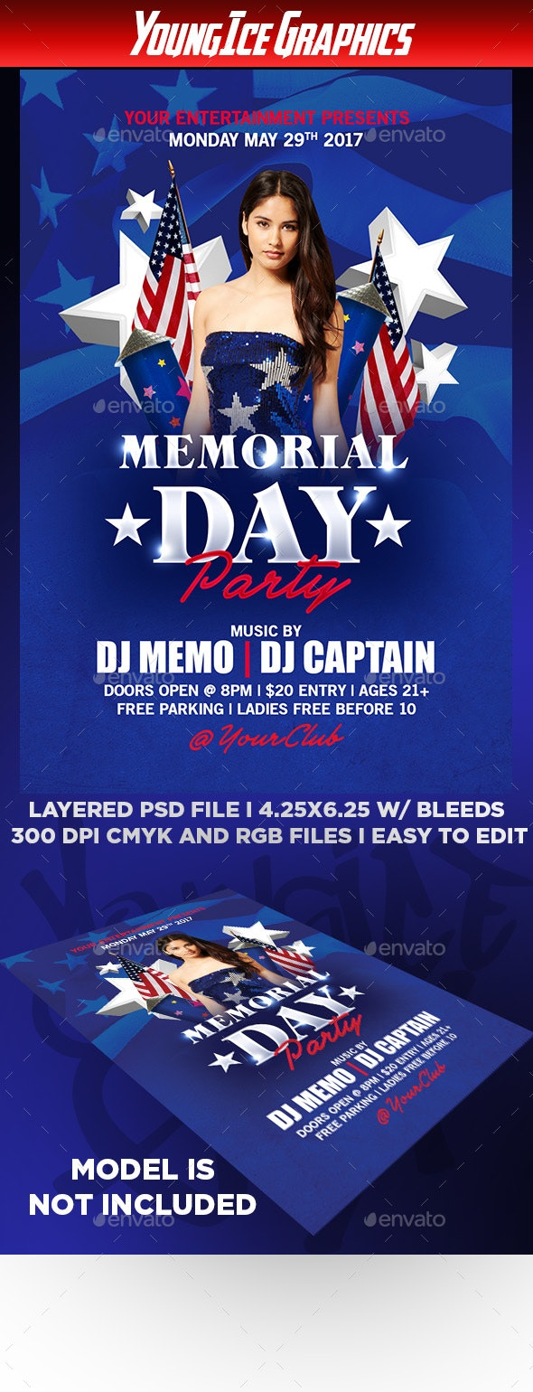 Memorial Day Party Flyer Template - Clubs & Parties Events