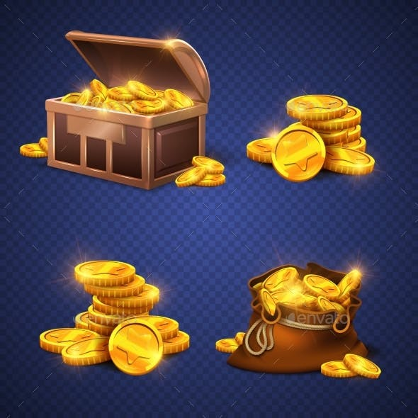 Wooden Chest and Big Old Bag with Gold Coins