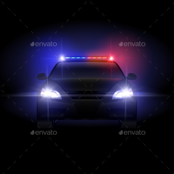 Sheriff Police Car at Night with Flashing Light - Backgrounds Decorative
