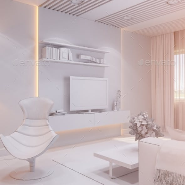 3d Render of the Interior Design Living Room