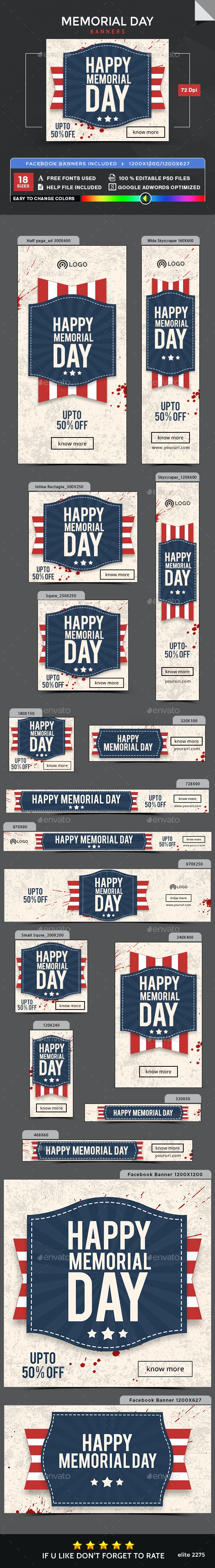 Memorial Day Banners - Images Included - Banners & Ads Web Elements