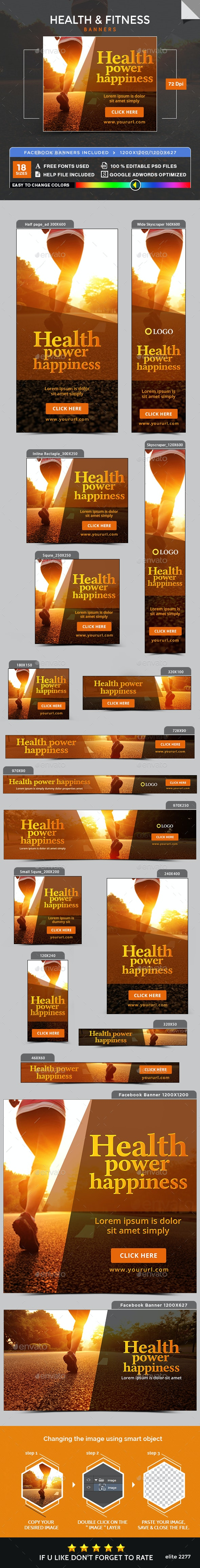 Health & Fitness Banners - Banners & Ads Web Elements