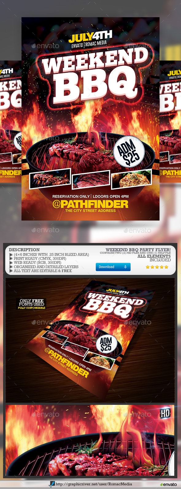 Weekend Barbecue BBQ Party Flyer - Events Flyers