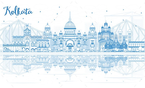 Outline Kolkata Skyline with Blue Landmarks and Reflections. - Buildings Objects