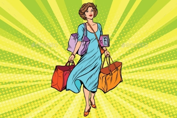 Woman with Empty Shopping Bags - People Characters