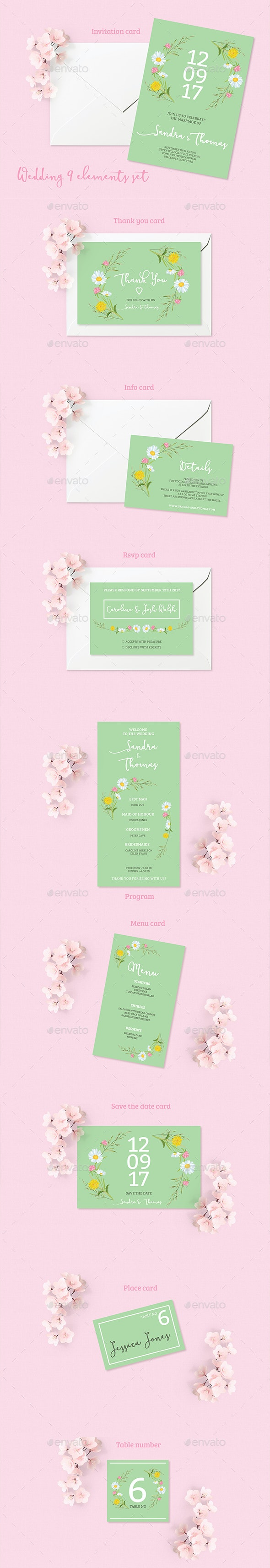 Summer Wedding Invitation Set - Weddings Cards & Invites