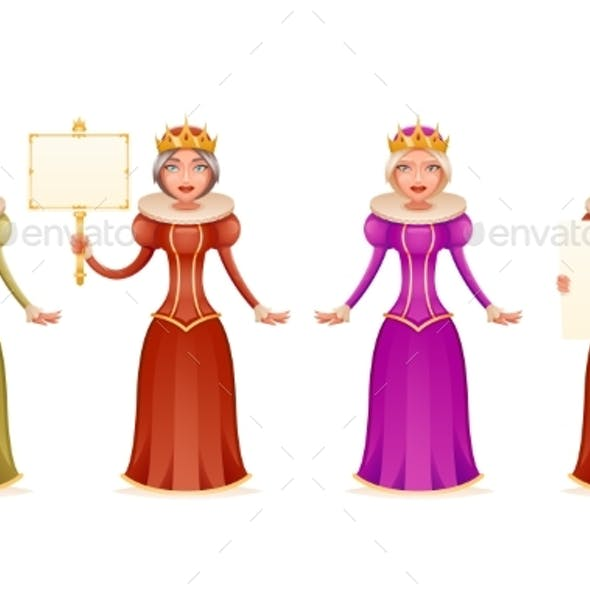 Queen Cheerful Ruler Blank Paper Thumb Up