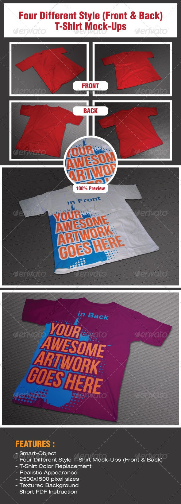 Four Different Style T-Shirt Mock-Ups - T-shirts Apparel