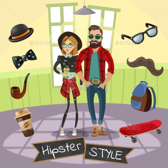 Hipsters Subculture Illustration - People Characters