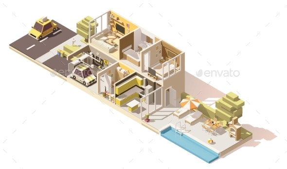 Vector Isometric Low Poly House Cross-Section - Buildings Objects