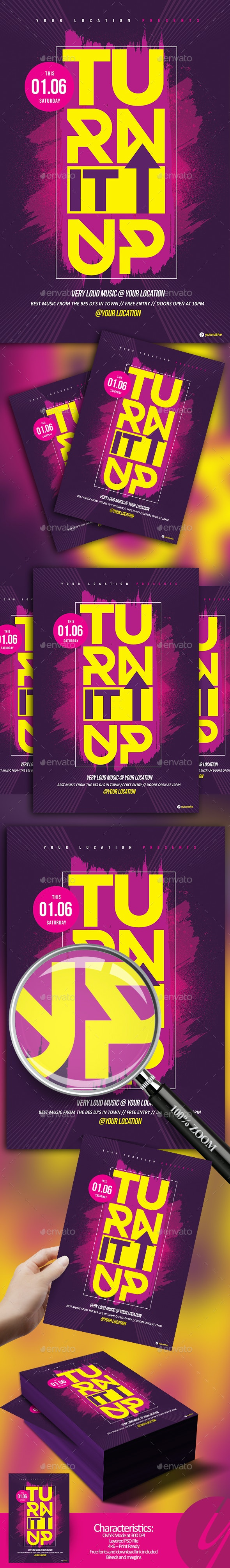 Turn It Up Flyer - Clubs & Parties Events