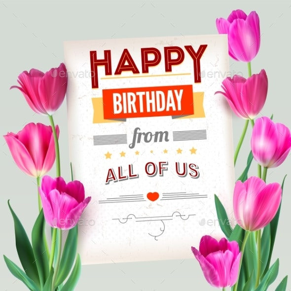 Happy Birthday Vintage Text Poster Composition - Miscellaneous Vectors