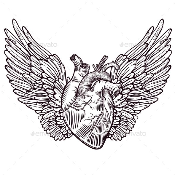 Line Art Illustration of Angel Wings and Heart