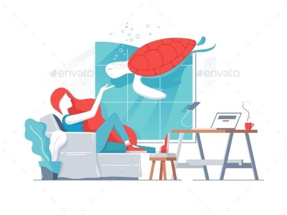Girl in Office with Turtle in Aquarium - People Characters
