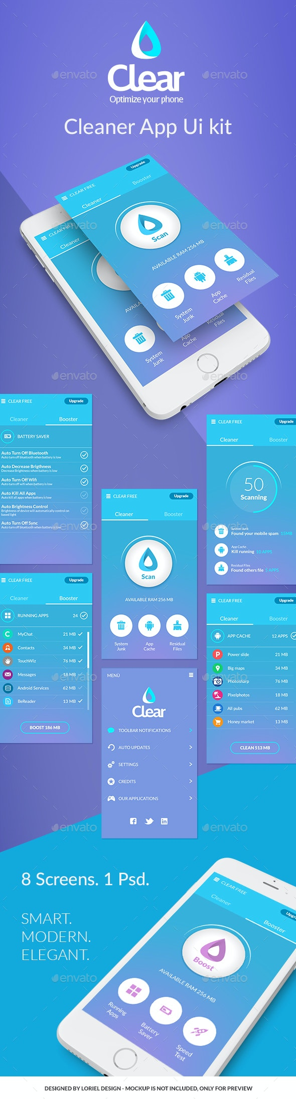 Clear - Mobile Cleaner App Ui kit - User Interfaces Web Elements