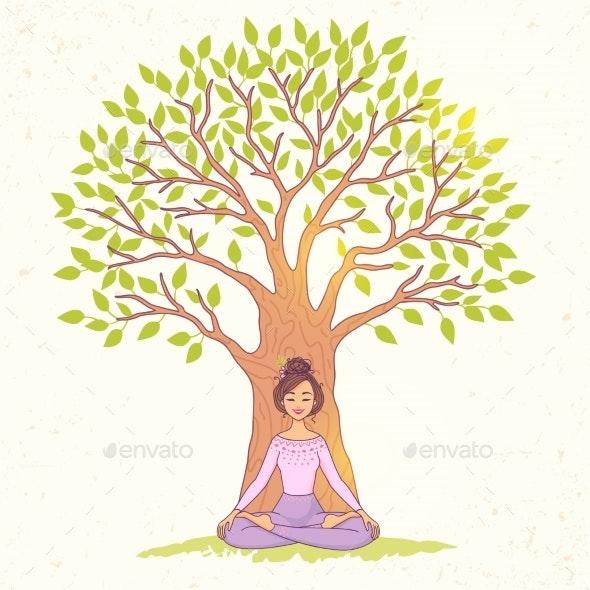 Tree Girl Lotus - People Characters