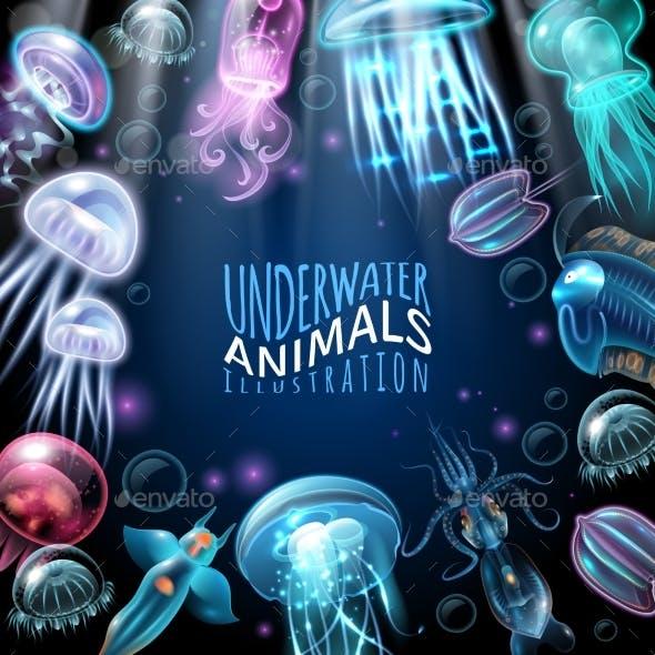 Underwater Animals Frame Background