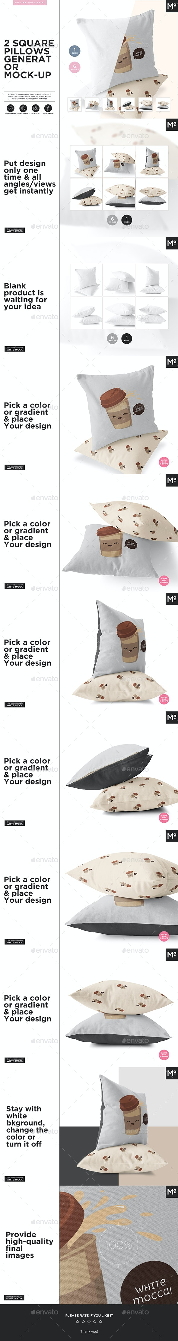 2 Square Pillows Generator Mock-up - Miscellaneous Print