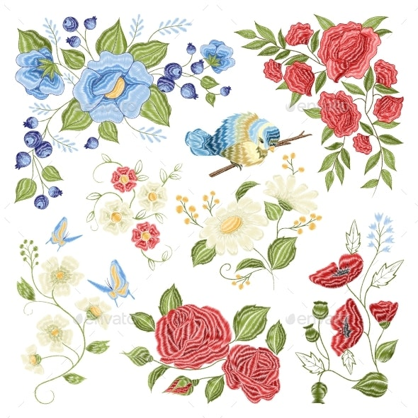 Floral Embroidery Colorful Pattern Pattern - Man-made Objects Objects