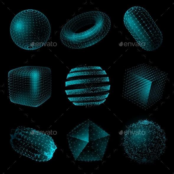 Geometric Shape 3D Technology Style Icon Set - Backgrounds Decorative