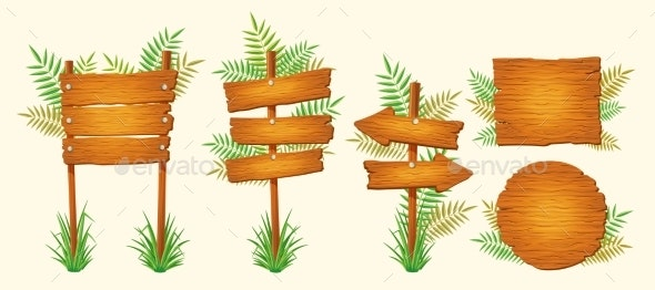 Set of Vector Cartoon Wooden Signs of Various - Objects Vectors