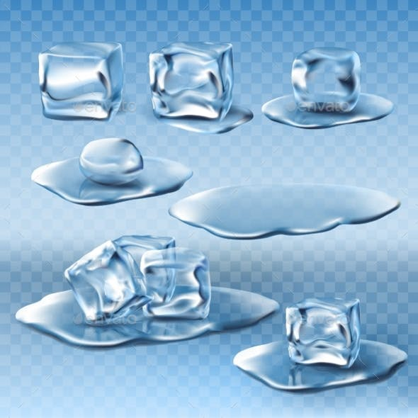Set of Vector Wet Melting Ice Cubes and Water