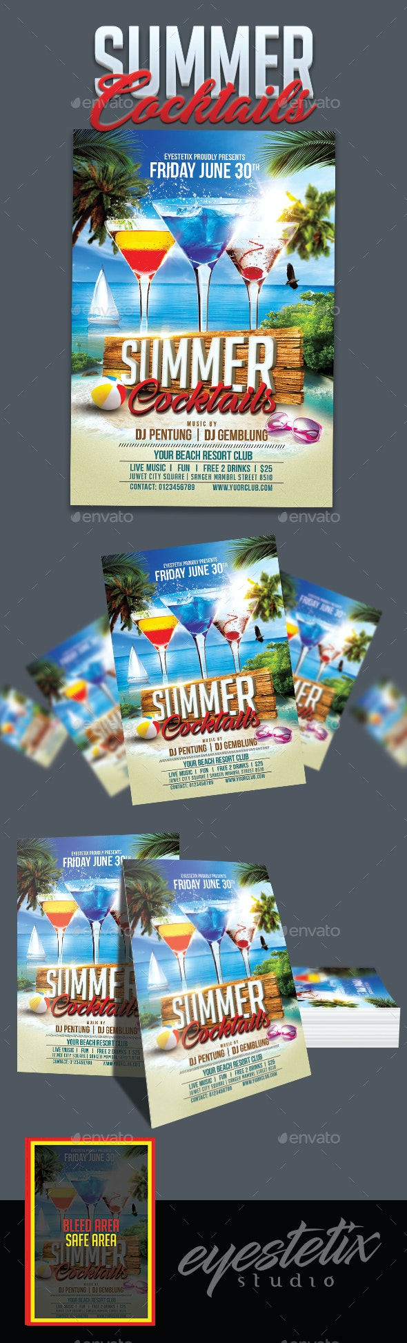 Summer Cocktails Party Flyer - Clubs & Parties Events