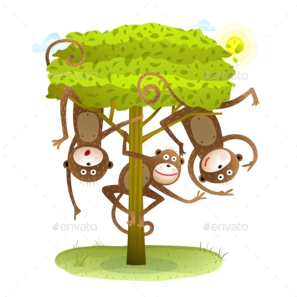 Funny Monkeys Friends on the Tree Animal Cartoon - Animals Characters