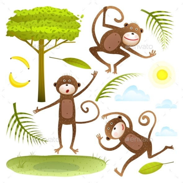Funny Monkeys Friends with Tree Leaves Sun Clouds - Animals Characters