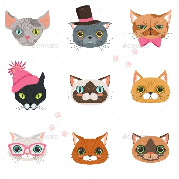 Set of Funny Cats Heads of Different Breeds - Animals Characters