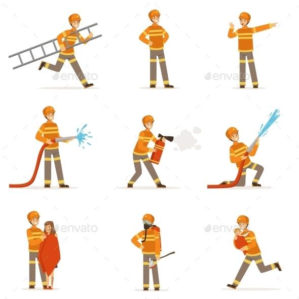 Firefighters in Orange Uniform Doing Their Job Set - Miscellaneous Vectors