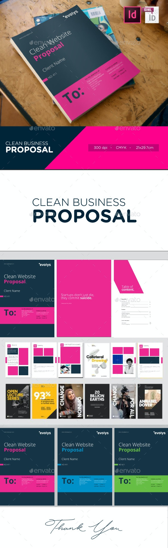 Clean Modern Corporate Website Design Proposal - Proposals & Invoices Stationery