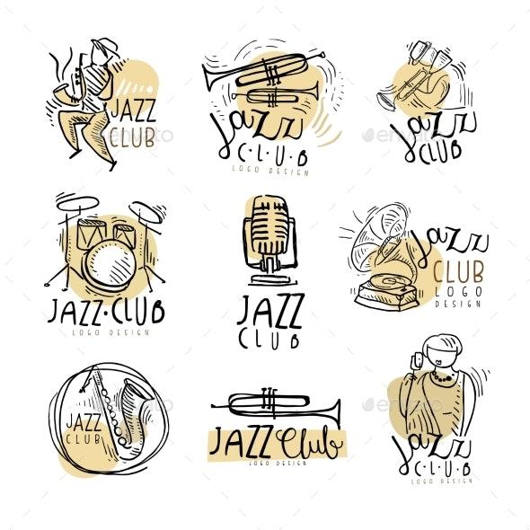 Jazz Club Emblems - Decorative Symbols Decorative
